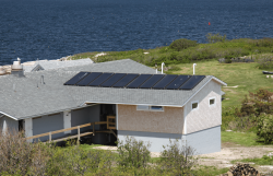 Solar hot water system on top a coast home