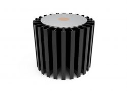 Round water filter with black spines and silver disc on top