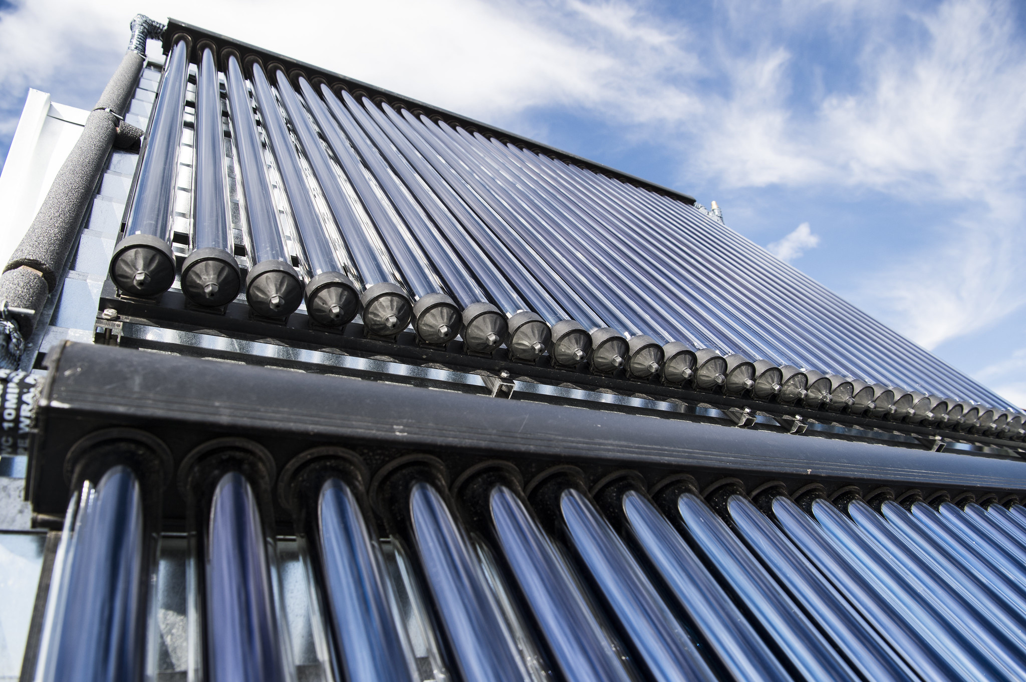 Close up of solar hot water system