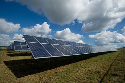 Solar panels in an open field