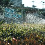 Close up of a sprinkler system with city in the background