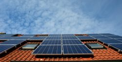 Clay tile roof covered in solar panels